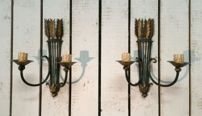 Applique da parete in ferro battuto anni set di in vendita