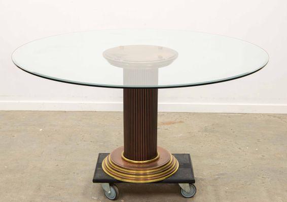 Tavolo da pranzo rotondo in rame e vetro di Belgo Chrom, anni \'80 in ...