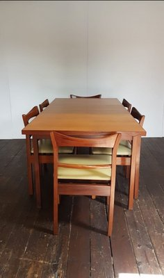 Mid Century Floating Extending Teak Dining Table 6 Chairs