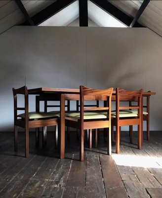 Mid Century Floating Extending Teak Dining Table 6 Chairs 2