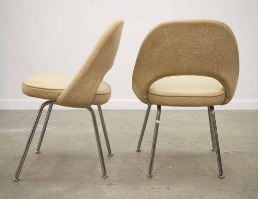 Chaises De Salle A Manger Avec Pieds En Chrome Par Eero Saarinen