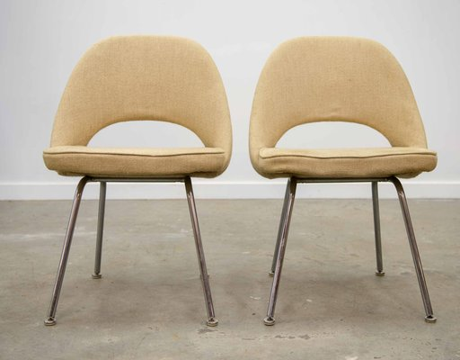 the latest 8ead2 47531 Dining Chairs with Chrome Feet by Eero Saarinen for Knoll International,  1960s, Set of 2