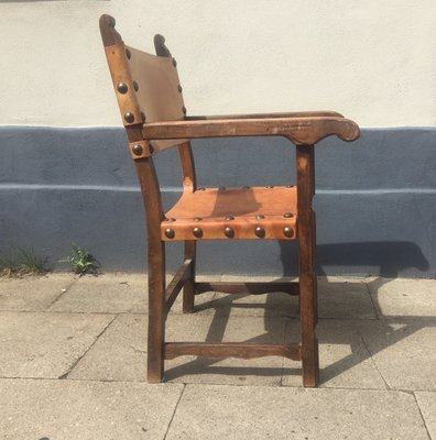 Antique Spanish Oak Leather Armchair For Sale At Pamono