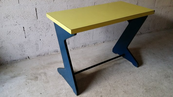 Vintage Blue Yellow Console Table 5