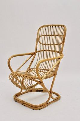 Attrayant Mid Century High Back Bamboo Armchair By Bonacina Pierantonio, 1960s 1
