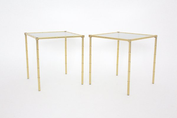 French Brass U0026 Faux Bamboo Side Tables, 1960s, Set Of 2