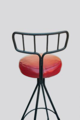 Astonishing Vintage Faux Red Leather Black Lacquered Metal Stools Set Of 3 Unemploymentrelief Wooden Chair Designs For Living Room Unemploymentrelieforg