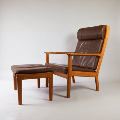 Mid Century GE265 Leather High Back Armchair U0026 Ottoman By Hans Wegner For  Getama 1