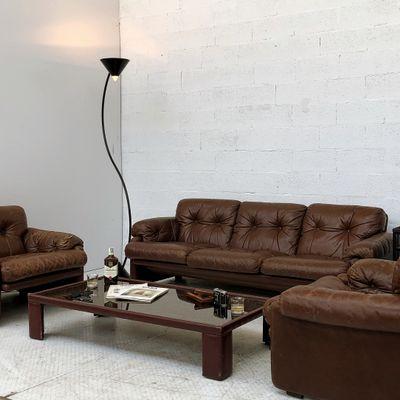 Hervorragend Braunes Leder Coronado Wohnzimmer Set Von Afra U0026 Tobia Scarpa Für Cu0026B  Italia, ...