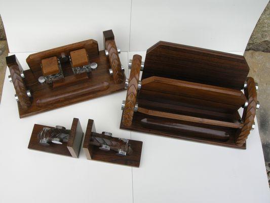 Set Ufficio Legno : Set da ufficio in legno e placcato in cromo anni in vendita