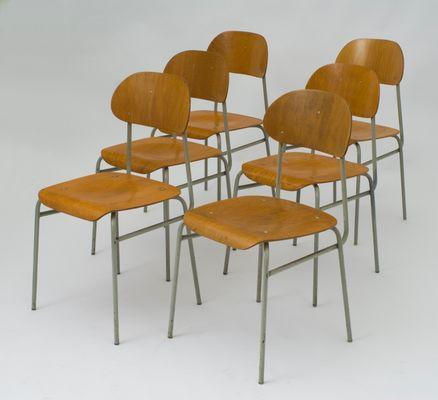 Sedie da scuola vintage in compensato e metallo, set di 6 in vendita ...