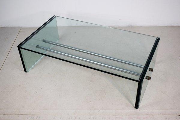 Etonnant Rectangular Glass Coffee Table, 1970s