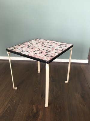 Side Table With Ceramic Tile Top 1950s 1