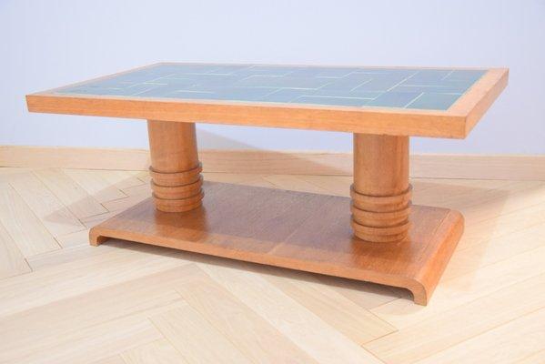 Table Basse Vintage en Chêne Clair par Guillerme et Chambron