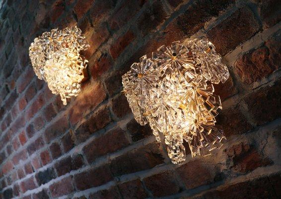 Applique da parete in cristallo sfaccettato e ottone placcata in oro