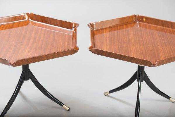Table d'Appoint Piedestale en Teck & Bois Noirci, Italie