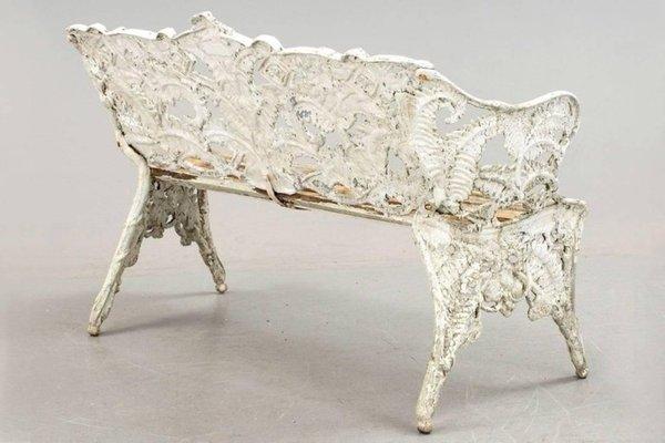 Art Nouveau White Iron Bench 2