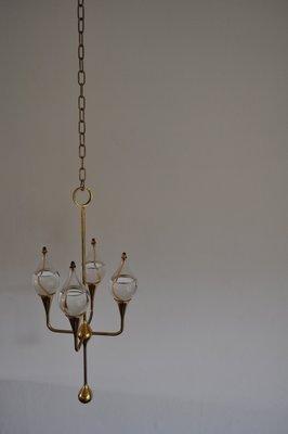 Vintage Clear Drops Öl Lampen Kronleuchter Von Freddie Andersen 1