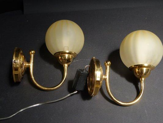 Applique in ottone e vetro di murano anni set di in