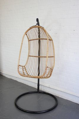Mid Century French Rattan Swing Chair 1950s 1