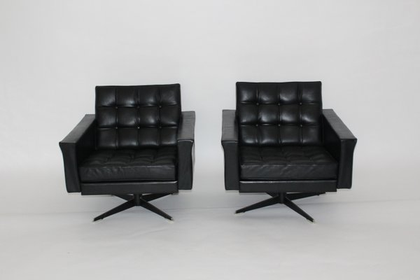 Surprising Black Leather Swivel Chairs By Johannes Spalt 1960S Set Of 2 Evergreenethics Interior Chair Design Evergreenethicsorg