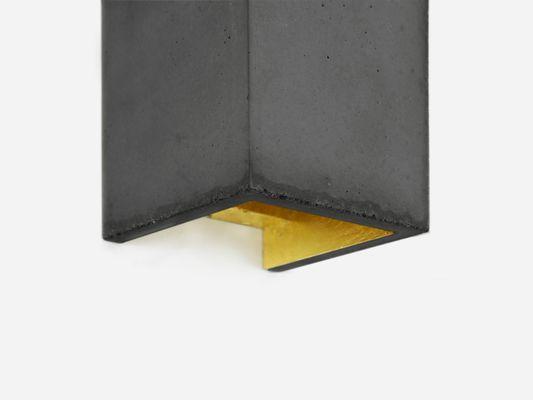 Lampada da parete rettangolare b in cemento scuro e placcato in