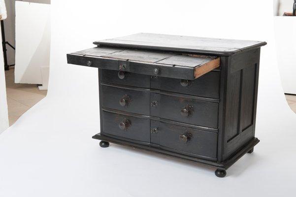 Antike Niederlandische Kommode In Schwarz Mit Schreibtisch 1760er