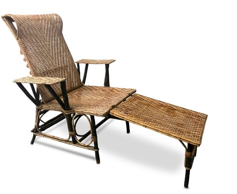 vintage french wicker bamboo chaise lounge 1 - Chaise Vintage