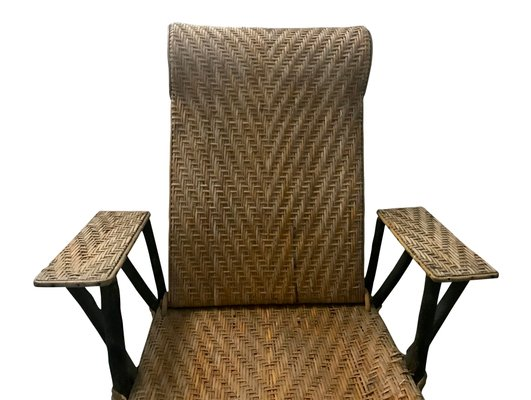 49e6c99b0aa2d Vintage French Wicker   Bamboo Chaise Lounge for sale at Pamono