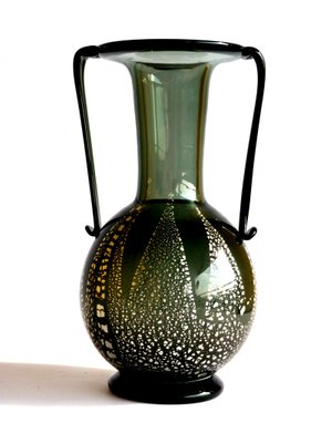 Vintage Murano Aventurine Glass Vase By Fratelli Toso 1930s For