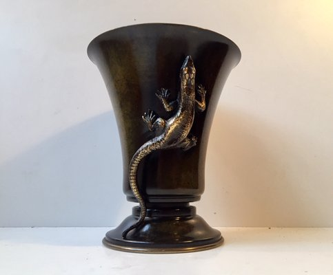Danish Art Deco Bronze Vase With Lizard From H F Bronce 1930s For