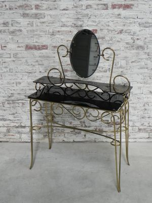 Vintage Brass U0026 Glass Dressing Table 3