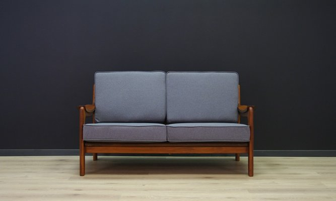 Vintage Danish Sofa With Grey Fabric 1