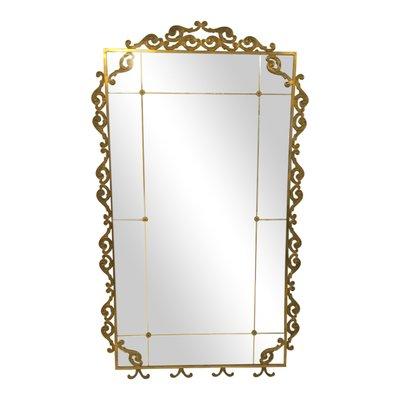 Grand Miroir de Pied Vintage en Laiton, Italie en vente sur Pamono