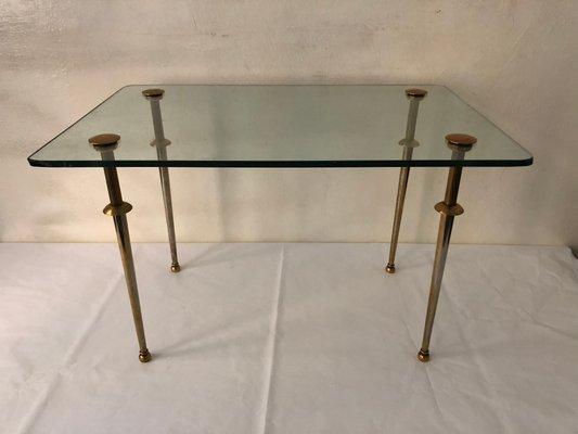 Table Basse Vintage En Verre Et Laiton