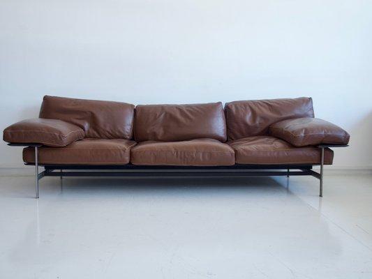 Diesis Leather Sofa by Antonio Citterio & Paolo Nava Brown for B&B Italia,  1980s