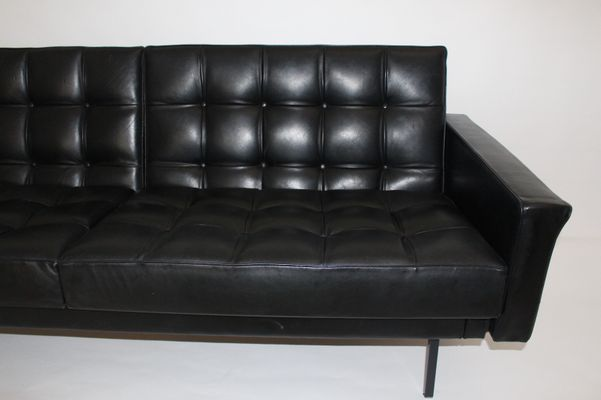 Black Leather Sofa by Johannes Spalt for Wittmann, 1960s for sale at ...