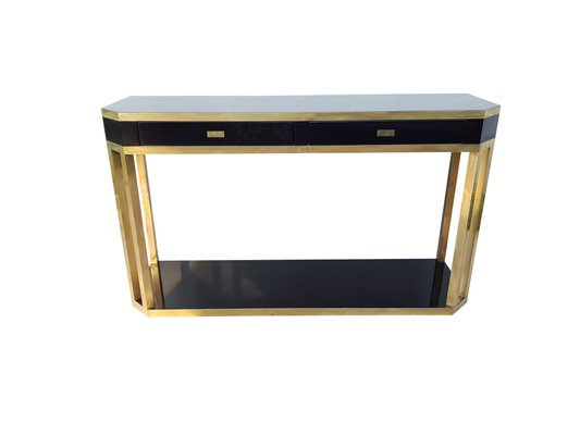 brass console table. French Black And Brass Console Table By Jean Claude Mahey, 1970s 1