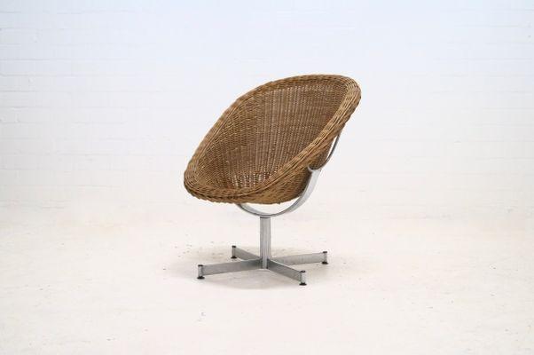 Rattan Swivel Lounge Chair By Dirk Van Sliedregt For Gebr. Jonker, 1960s 1