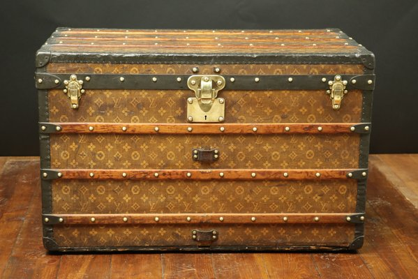 Antique Steamer Monogram Trunk With