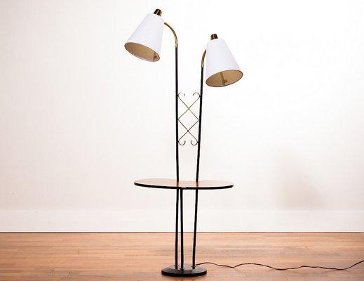 Metal & Brass Side TableFloor Lamp, 1950s