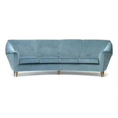 Italian Four Seater Sofa In Azure Velvet, 1950s 1