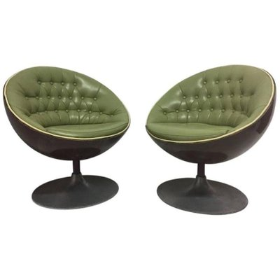 Mid Century Swivel Egg Chairs, Set Of 2 1