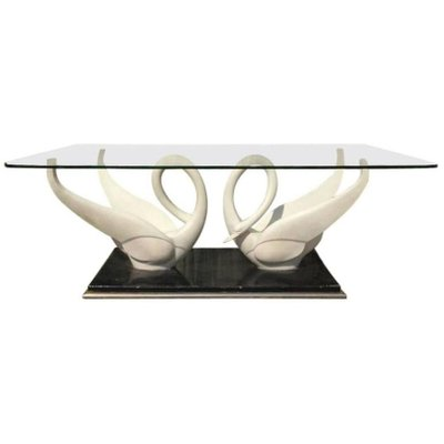 Mid Century White Composite Swans Gl Top Coffee Table From Maison Jansen