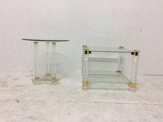 Vintage French Square Lucite U0026 Brass Two Tier Side Table 2