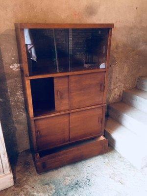 Ante Scorrevoli In Vetro.Mobile Da Biblioteca Mid Century Con Ante Scorrevoli In Vetro