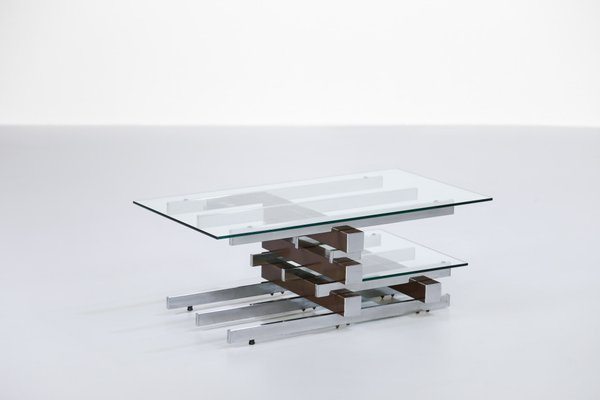 Vintage Glass U0026 Chrome Coffee Table 1