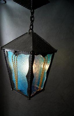Avec Vitrail1950s En Forgé Fer À Lampe Suspension EbWDYe92IH