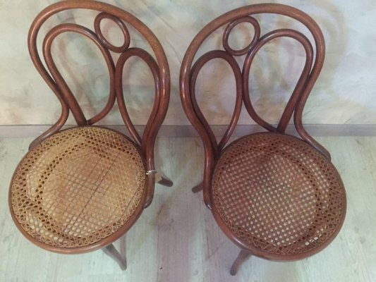 Admirable Antique Cane Dining Chairs From Thonet 1900S Set Of 2 Short Links Chair Design For Home Short Linksinfo