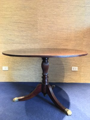 Vintage Wooden Round Dining Table With Brlion Feet 1940s 1